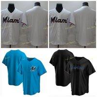 Mens Miami бейсбол марки Marlin сшитые сшитые Flexbase Cool Base Team белый синий черный