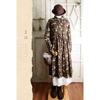 Casual Dresses Lamtrip Unique Romantic Peony Flowers Print Botique Retro Peter Pan Collar Long Sleeve Cotton Spring 2021 Mori Girl