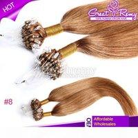 100s Virgem Brasileira 18 polinch # 8 micro anel laço de extensão de cabelo em linha reta micro anel de cabelo micro laço extensão de cabelo pode ser tingido