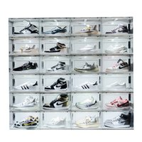 Sound Control LED Light clear Shoes Box Sneakers Storage Anti-oxidation Organizer Shoe Wall Collection Display Rack 2844 Q2