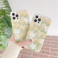Small fresh yellow and white flowers and green leaves phone cases for iphone13 pro max 12 11 X XR XS 7 8 plus SE case cover