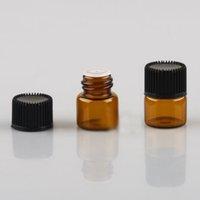 100pc lot 1ml 2ml 3ml 5ml Empty Drams Amber Glass Bottle With Plastic Lid Insert Essential Oil Glass Vials Perfume