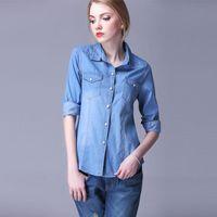 Women's Blouses & Shirts Autumn Women Denim Shirt Blouse Female Turn Down Collar All Matches Long Sleeve Plus Size Tops
