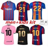 Tops Messi Barcelona Fussball Jerseys Barca FC 20 21 22 Ansu Fati 2021 2022 Griezmann F.de Jong Countinho Dest Jersey Kit Hemd Männer Kinder