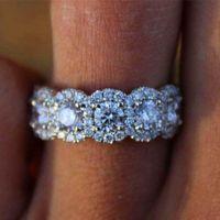 Di lusso grande da donna in cristallo di fidanzamento bella 925 sier zirskonia anello in pietra anello vintage anelli di nozze per le donne