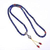 펜던트 목걸이 108 Mala 구슬 티베트 real lapis lazuli 여성을위한 남성용 불교기도 구슬 명상 요가 목걸이