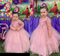 Fashion Dusty Rose Toddler Infant Flower Girls Dresses Crystal Beaded Ball Gown Long Sleeves Tulle Party Prom Kids Little Girl First Communion Dress
