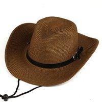 Мужские западные ковбойские шапки дамы приливы пляжные шапки Летняя соломенная шляпа GSCM033 мода аксессуары навесных кепок шириной