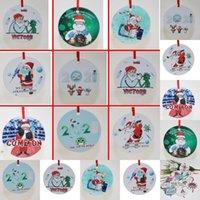 Noel Karantina Süsler Yuvarlak Şekil Noel Ağacı Kolye Santa Bir Maske Takıyor Noel Dekor Aksesuarları Süslemeleri OWD9133