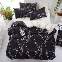 Bedding Sets Home Textile 5 Size Set Summer Duvet Cover Pastoral Flat Sheet Flower Decor Black White Linens