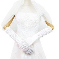 الطويلة الساتان أنيقة ل العروس قفازات الزفاف الزفاف النساء فنجر غانتين مواخر اللوازم الحمراء الأسود الوردي الأزرق الأرجواني