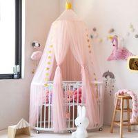 Кладка сетки принцессы Детская палатка детская кровать, висит москитный чистый купольный навес посомительный занавес занавес круглый детский декор