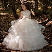 2021 Dantel Gelinlik Aplike Kısa Balo Prenses Parti Abiye Küçük Kız Pageant Çiçek Kızların Elbiseleri