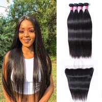Wholesale 10A Brazilian Virgin Human Weave 4 Bundles with 13X4 Lace Frontal Closure Malaysian Peruvian Indian Straight Remy Hair Extensions