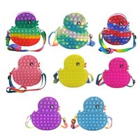 Decompression toy cute duck bag sensory bubble Fidget animal cartoon shopping portable anti-stress puzzle children adult party gift DHL free