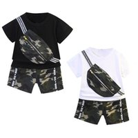 Clothing Sets 2Pcs Toddle Boys Cotton Summer Suit Camouflage Print Round Neck T-shirt Elastic Waist Shorts Set For Exercise Sport Casual Wea