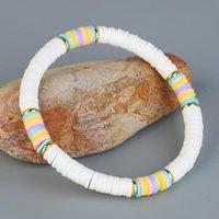 Charm Bracelets QUANCHI White 6mm Polymer Clay Bracelet Bohemia Handmade Stretch Stackable Heishi Beads Women Jewelry