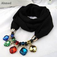 Pendentif Colliers Ahmed Musulman Beads Géométrique Irrégular Crystal Foulard Collier pour femme Mode Collier ethnique Bijoux