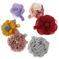 New Kids Children Hairpins Barrettes Baby Fabric Bow Flower with pearl Headwear Hair clips Girls Headdress cute Headbands