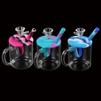 shisha hookah glass bong dab Water cup hookahs silicone hose joint height 140mm