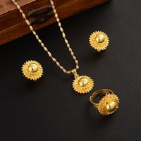 Women African Jewelry Set Polished Orbs Wedding For Bride Ethiopian Eritrean Gold Gift Necklace Earrings Ring &