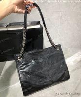 2021 Imported rughe Oil Wax Cowhide Niki Shopping Bag Donne Tutte le borse a tracolla Catena nera Design Moda Design Crossbody Borsa Borse da donna Borse da donna 33cm