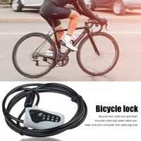 Bike Locks Universal Bicycle Security Combination Cable Lock 2m Zinc Alloy Anti-Theft 4-Digit Code Cycling Accessories