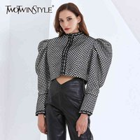 TWOTWINSTYLE Ruched Plaid Jackets For Women O Neck Puff Long Sleeve Short Female Coats Autumn Fashion Clothing Tide