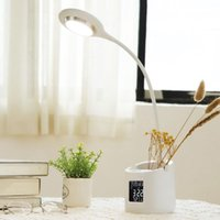 Table Lamps 360 Degree LED Desk Lamp USB Charging Alarm Clock Thermometer Calendar 3-Level Dimmer With Pen Holder