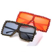 18 Colors Women Square Luxury Acrylic Rhinestone Sunglasses Oversize Colorful Diamond Frame Shades Big Sun Glasses Wholesale