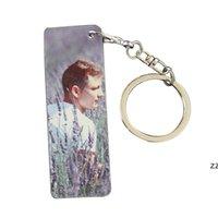 Farbstoff-Sublimations-leeres doppelseitiges Metall Keychain DIY rechteckige personalisierte benutzerdefinierte Keychains Aluminiumblech HWD8526
