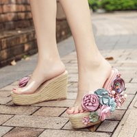 Slippers Rimocy Sweet Pearl Flowers Wedges Heels Women Summer Clear Pvc Platform Sandals Woman Casual Rope Outside Slides