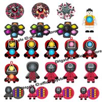오징어 게임 Fidget 장난감 실리콘 푸시 버블 감각 릴리버 스트레스 키 체인 성인 어린이 자폐증 antistress 크리스마스 장난감