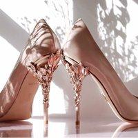 2021 zapatos de boda nupciales azules rosados puntiagudos con punta con las bombas de las mujeres tacones altos 9 cm con hojas para el cóctel de noche fiesta de fiesta negro