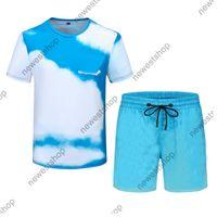 2021 new Summer Men Designer Tracksuits Sets Mens Fashion Blue Sky Print Running Suits T-Shirt Short Sleeve Sportswear shirt M-3XL