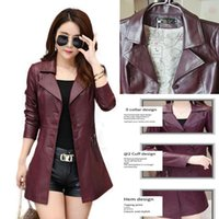 Women's Leather & Faux Windbreaker Women 2021 Autumn And Winter Mid-length Slim-fitting Jacket Fashion Large Size Thick Long-sleeved Coat