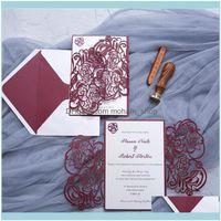 الحدث الاحتفالي المنزل حديقة 50pcs الليزر قطع الليزر دعوات الزفاف تخصيص تحية الأعمال مع بطاقات RSVP حفلة عيد ميلاد صالح سو