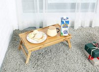 Bambu café da manhã servindo bandeja com alça, mesa de bandeja de cama com pernas dobráveis, mesa de laptop, bandeja de café da manhã para sofá, almofada lanchonete bebida prato