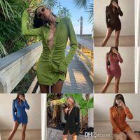 Women Velvet Shirt Dresses Designer Pleated Slim Club Dress Collar Elegant Button Fashion Solid Color Long Sleeve Skirt