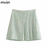 Etekler MXTIN 2021 Kadın Yaz Moda Tüvit Geniş Pleats Mini Etek Vintage Yüksek Bel Fermuar Kadın Japon Tarzı Mujer