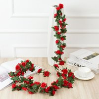 Decorative Flowers & Wreaths Rose Rattan 45 Peony Artificial Flower Vine Wedding Decoration Ceiling Wall Hanging Silk