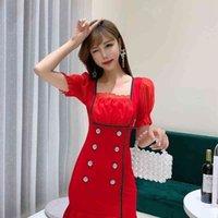 Ldyrwqy sommer koreanische stil slim sexy niedrig geschnittene zweireihige kräuselte Hüftrock Puff Sleeve Dress Office Lady 210416