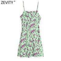 Zevity 새로운 Wome 패션 잎 꽃 인쇄 슬링 미니 드레스 여성 세련된 백리스 버튼 스파게티 스트랩 슬림 Vestidos DS8319 210419