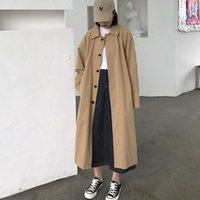 Women Clothes 2021 Autumn Arrival Holiday Comfortable Loose Trench Coat Temperament Solid Girls Outdoor Long 5281 Women's Coats