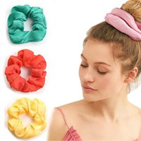 Women Reflect Light Hair Bands Satin Solid Color Silk Ties Scrunchie Ponytail Holder Accessories Headband For