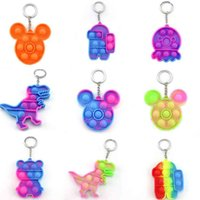 Sensory Fidget Brinquedos Brinquedos Simples Chaveiro Vá Bang Keychain Push Pop Poppper Poppers Board Rainbow Tie Rain Flowing Dinossauro Octopus Urso Ansiedade Relevante Toy H41infe