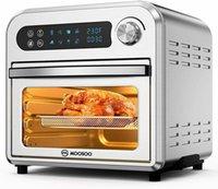 MoOSOO MA12 8 en 1 Horno de aire de aire, 10.6 QT Tostador con pantalla digital, hornee, asado, menos aceite, Temp / dial de tiempo, acero inoxidable, 4 accesorios, 100 recetas