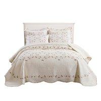 American EurePo Baumwolle Stickerei Luxus Blumen Bettdecke BettSpread Sets White Color Coverlets Set Bettsets King Size240x260cm Gefrischte Quilts