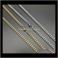 Necklaces & Pendants Jewelry Drop Delivery 2021 5Mm Width 70Cm Length Cuban Chain Diy Hip Hop Necklace Chains Gold Sier Color Ti Steel 4Pc5P