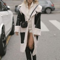 Women's Leather & Faux Fashion Loose Long Sleeve Coats Women Elegant Turn Down Collar PU Jackets Winter Ladies